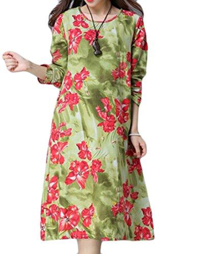 Coolred-femmes, Plus La Taille De Style Chinois Imprimé Pattern2 Robe Mi-longueur Élégante