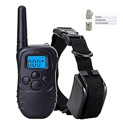 MOGOO Dog Training Collar With Remote Rechargeable & Rainproof LCD Screen 330 Yard Beep/Vibration/Shock Electric Train Collars For Small,Medium,Large Pets&Dogs(For 1 Dog) by MOGOO
