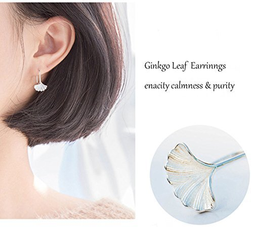 Leiothrix Ginkgo Leaf Earrings Stud Cute Korean Style Jewelry for Women and Girls
