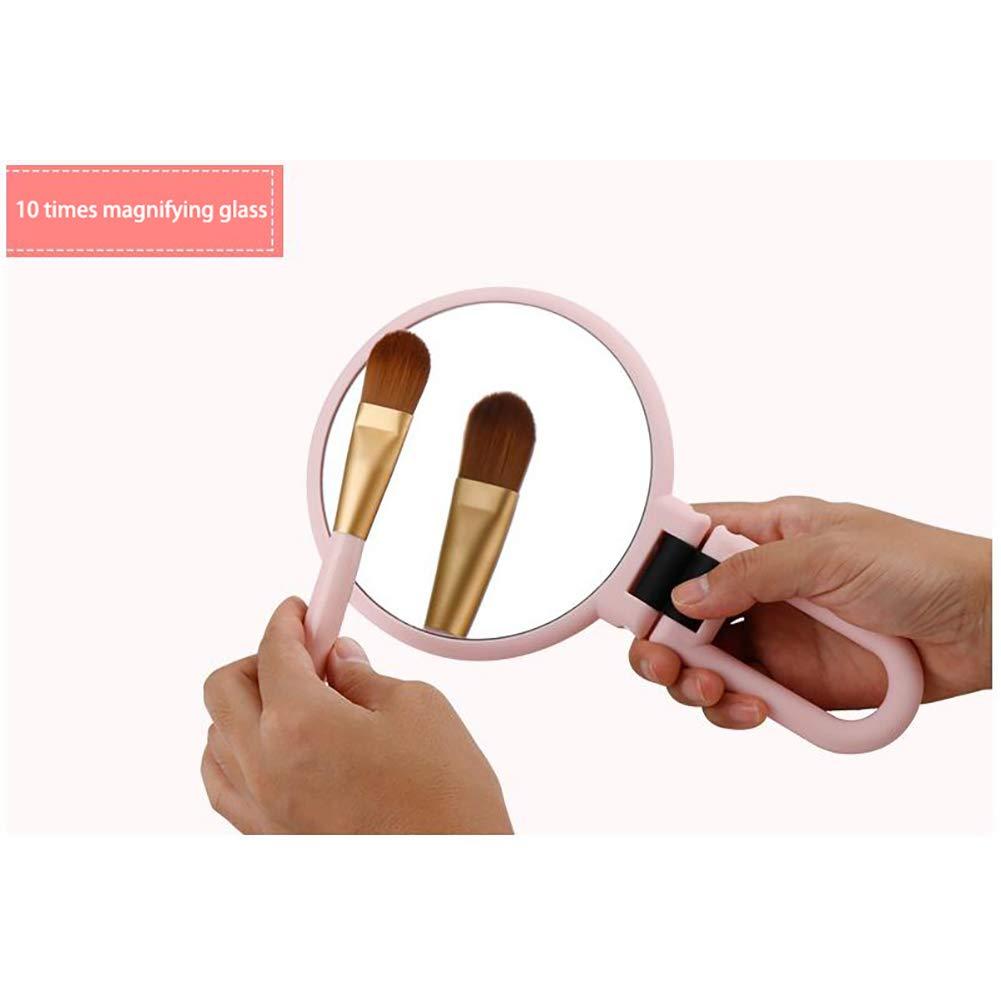 Rosa Xiton 1PC 10x Tragbar Doppelseitig Glasspiegel Handheld Vergr/ö/ßErt Schminkspiegel Mit 360-Grad-Schwenkrunde Kosmetikspiegel F/üR Badezimmer Oder Schlafzimmer