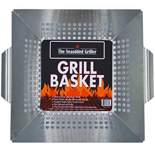 - Professional Grade Stainless Steel Grill Basket, BBQ Accessories, Grill Your Meats, Vegetables, Seafood, Pizza, Kabobs. Fits Charcoal, Gas Grills Camping Cookware Grill Tool For Dad