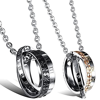 "Oidea 2 Pcs Stainless Steel Lover's Roman Numerals""LOVE ETERNAL""Pendant Necklace"