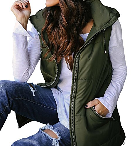 EastLife Womens Down Vest Packable Lightweight Quilted Zip Up Outerwear Puffer Vests With Hood (Quilted Green Vest)