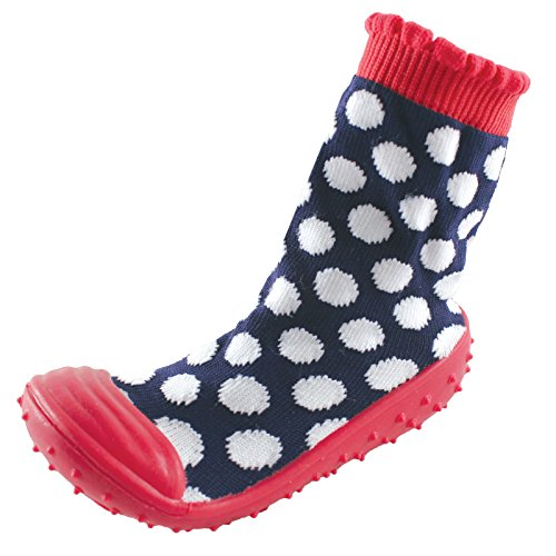 Luvable Friends Girls Rubber Grip Sole Socks Navy Dots 18 24