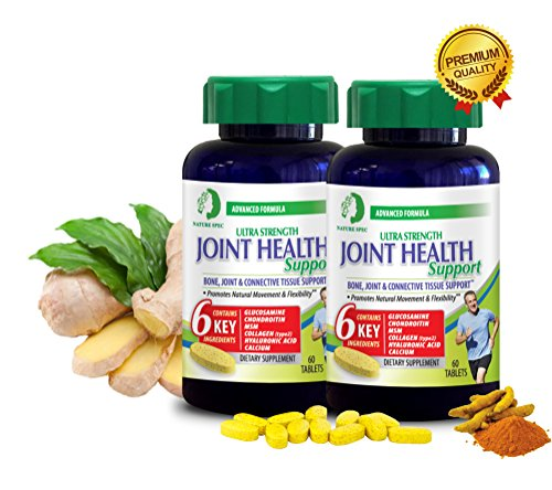 Nature Spec Joint Health Ultra Strength 6 Key Ingredients Premium,Glucosamine,Chondroitin,MSM,Collagen,Hyaluronic Acid,Movement,Synergistic Herbal, Ginger Root, supplement 60 Tablets (2 pack) by Nature Spec