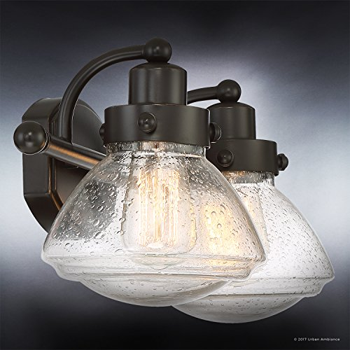 Luxury Transitional Bathroom Vanity Light, Medium Size: 8''H x 17.75''W, with Rustic Style Elements, Oil Rubbed Parisian Bronze Finish and Seeded Schoolhouse Glass, UQL2651 by Urban Ambiance by Urban Ambiance (Image #2)