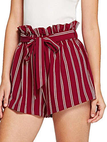 SweatyRocks Women's Casual Elastic Waist Striped Summer Beach Shorts with Pockets (Small, Red)