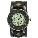 Vintage Retro Bronze Round Case Dial Leather Wide Belt Wristband Cuff Quartz Analog Wrist Watches