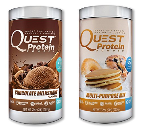 Quest Nutrition Quest Protein iaOlQE Powder, Chocolate Milkshake/Multi Purpose 2lb Tub (1 of Each) by Quest Nutrition