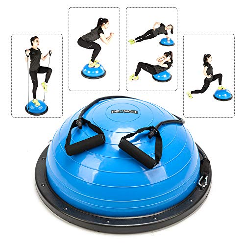 PEXMOR Yoga Half Ball Balance Trainer Exercise Ball Resistance Band Two Pump Home Gym Core Training (Standard Version - Blue) (Workout Equipment Bosu Ball)