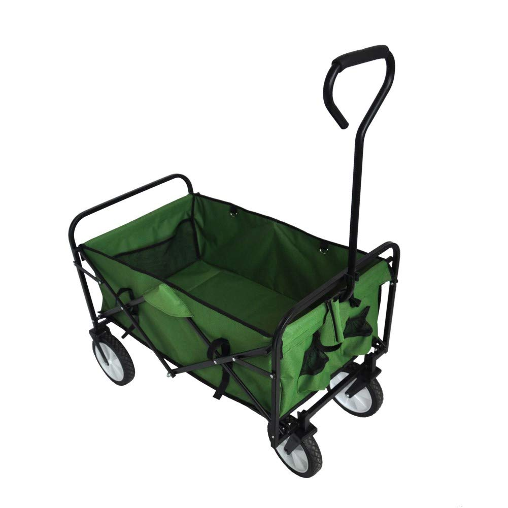 DERCASS Folding Wagon with Side Bag and Storage Bag Garden Shopping Beach Cart Shopping Trolley Collapsible Heavy Duty Utility Outdoor Activities Use (Green) by DERCASS