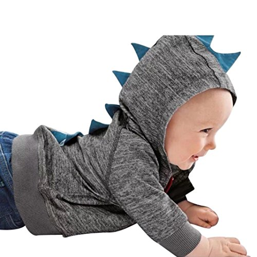 Lowprofile Baby Winter Jacket Dinosaur Costume Toddler Girl Boy Hooded Zip Sweatshirt Coat Jacket (3-18 Months) (70 (3M), Dark Gray)