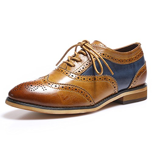 2d85b068a5 Mona flying Womens Leather Perforated Lace-up Oxfords Brogue Wingtip Derby  Saddle Shoes for Girls