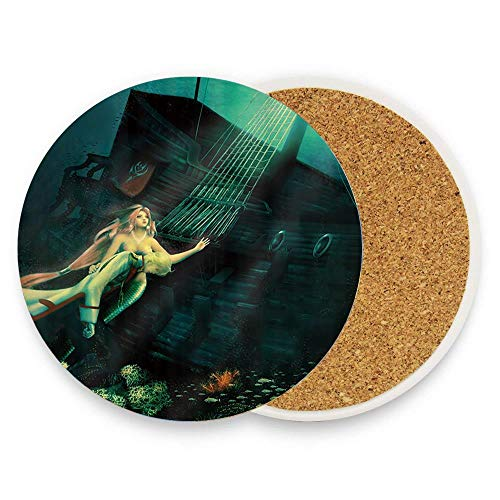 BeautyToiletLidCoverABC Fantasy Underwater Shipwrecks Cartoon Anime Mermaid Prince Coaster for Drinks, Ceramic Round Cork Trivet Heat Resistant Hot Pads Table Cup Mat Coaster Pack Of 1