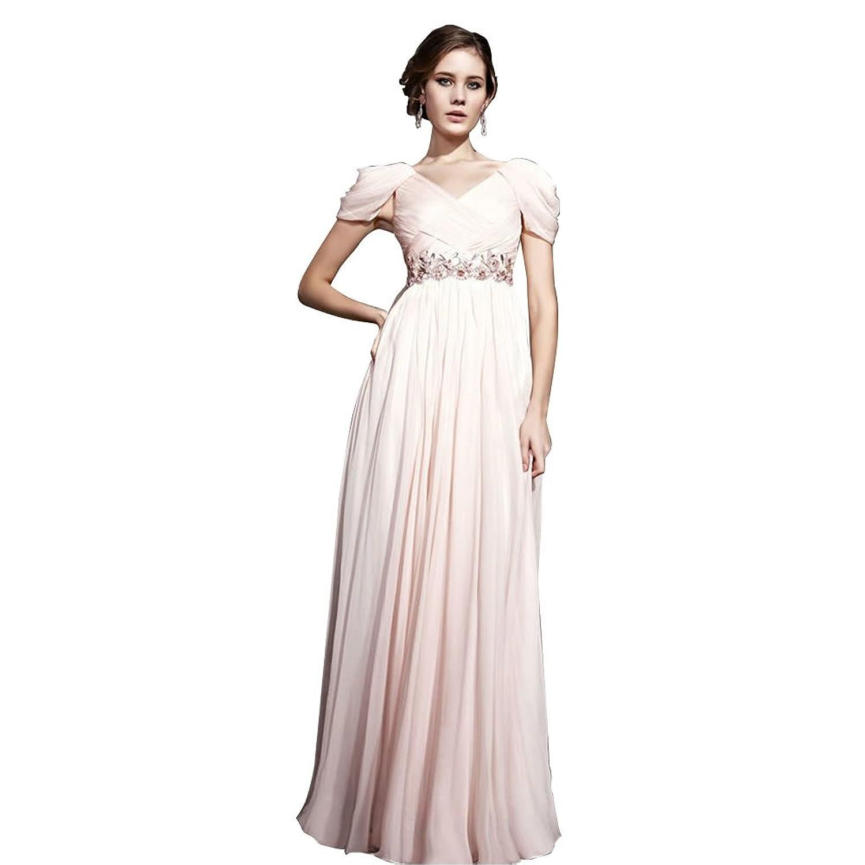 GEORGE BRIDE Sheath/ Column V Neck Floor-Length Chiffon Evening Dress With Beaded Appliques