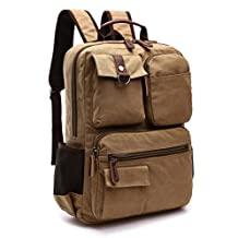 Nanxson New Fashion Great Canvas Unisex Retro Vintage Backpack Rucksack for University Outdoor Camping Picnic Sports Laptop Backpack Multi-function Bag AL5041 (khaki)
