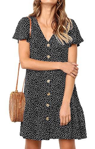 (GOCHIC Women's Dresses Short Sleeve V Neck Button T Shirt Mini Skater Dress Black#1 L)