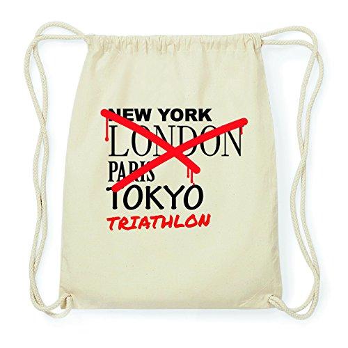 JOllify TRIATHLON Hipster Turnbeutel Tasche Rucksack aus Baumwolle - Farbe: natur Design: Grafitti