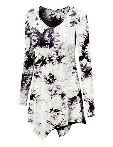 WT1062 Womens V Neck Long Sleeve Tie Dye Handkerchief Hem Tunic XXL WHITE_BLACK