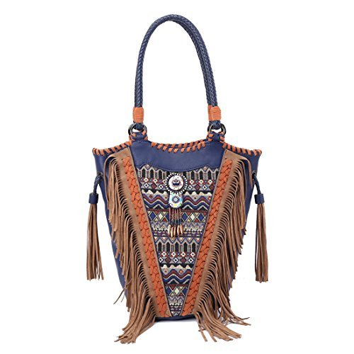 Shoulder Bag - Angedanlia Bohemian Handmade Bag Woman Tassel Handbag Tote 3934