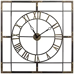 Stratton Home Décor S11549 Large Industrial Wall Clock, 27.95 W X 1.50 D X 37.99 H, Antique, Bronze