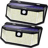 Aootek 182 Led Solar outdoor motion sensor lights upgraded Solar Panel to 15.3 in2 and 3 modes(Security/ Permanent On all night/ Smart brightness control )with IP65 Waterproof with Wide Angle(2pack): more info