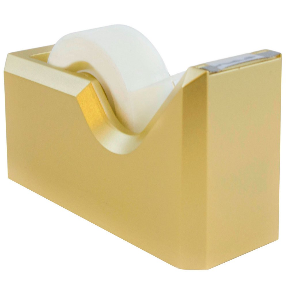 "JAM Paper Colorful Tape Dispensers - 4 1/2"" x 2 1/2"" x 1 3/4"" - Gold Tape Dispenser - Sold Individually"