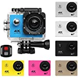 Action Camera 4K Ultra HD Wifi 30M Waterproof Diving Snorkeling Sport DV Mini Cam Camcorder+Remote for Kids,Snorkeling,Motorcycle,Bike,Helmet,Car,Ski and Water Sports