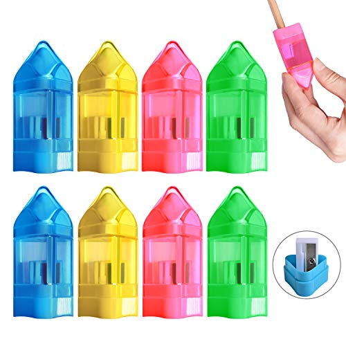 Handheld Pencil Sharpener, Portable Manual Pencil Sharpener with Eraser and Cover, Crayon-Shaped Colored Small Sharpeners for Kids, Students, School, Office and Art (8 Pack)
