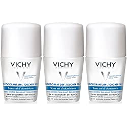 Vichy 24 Hour Dry-Touch Roll On Deodorant Aluminum Free and Salt Free, 3-Pack, 1.69 Fl. Oz. ( Pack Of 3 )