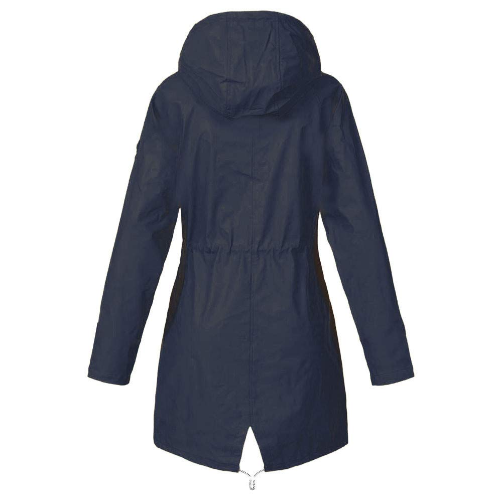 DENGZI Manteau Femme Vestes Solid Rain Outdoor Plus Imperméable imperméable à Capuche Coupe-Vent Marine-longue