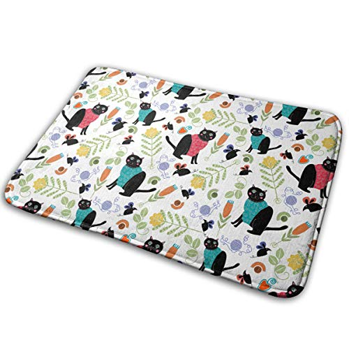 JTLCBC Cat and Mouse Knitting A Sweat Entry Way Outdoor Door Mat Bathroom Comfort Mats Rubber Non Slip Backing Indoor Uses