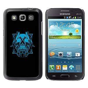 Caucho caso de Shell duro de la cubierta de accesorios de protección BY RAYDREAMMM - Samsung Galaxy Win I8550 I8552 Grand Quattro - Blue Skull & Blades