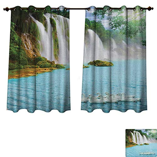 Waterfall Blackout Thermal Curtain Panel Image of a Grand Waterfall with Swans in The Lake Sunny Day Nature Print Patterned Drape for Glass Door Blue Green White Size W72 xL45 (Clear Glass Waterfall Grande)