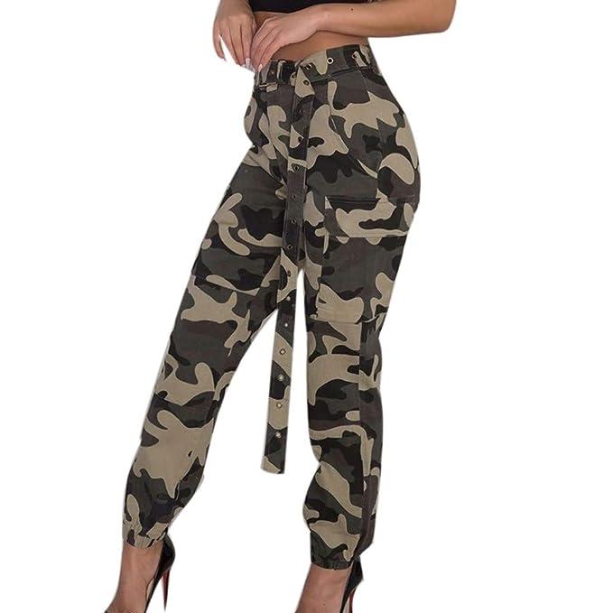 Italily Donna Carico Pantaloni Casuale Pantaloni Militare Esercito  Combattere Solido Tasca Pantaloni Sciolto Camouflage Stampa Sportivi Tempo  Libero Jeans ... 98fc23b2e651