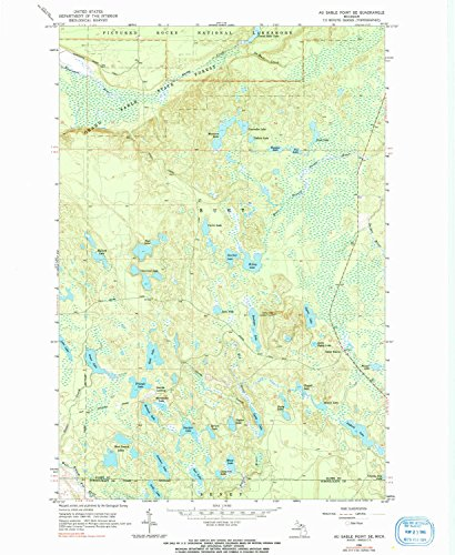 YellowMaps Au Sable Point SE MI topo map, 1:24000 Scale, 7.5 X 7.5 Minute, Historical, 1966, Updated 1991, 26.7 x 22 in - Paper (Bearfoots Moose)