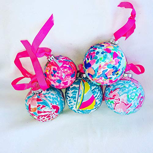 Christmas Fabric Ornaments made with Lilly Pulitzer Fan Sea Pants Lets Cha Cha