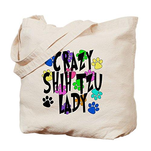Shih Tzu Tote (CafePress - Crazy Shih Tzu Lady - Natural Canvas Tote Bag, Cloth Shopping Bag)