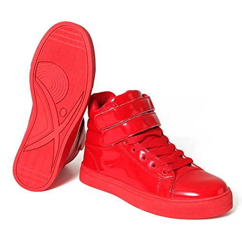 Alexandra Collection Womens Liquid Shiny High Top Hip Hop Dance Sneakers Red 9 by Alexandra Collection