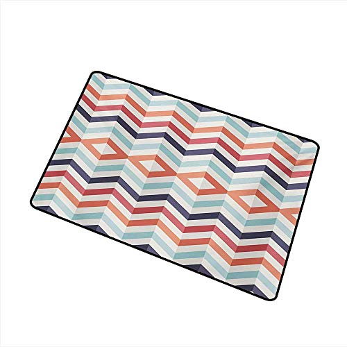 Diycon Pet Door mat Geometric Zig Zag Lines Chevron Stripes Going Up and Down with Optic Effect Image W35 xL47 Suitable for Outdoor and Indoor use