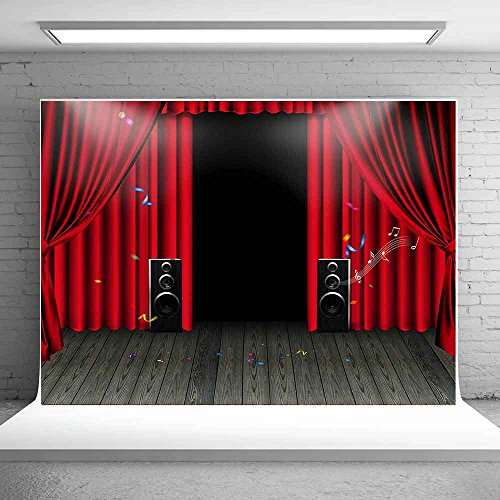 - MEETS 7x5ft Concert Stage Karaoke Backdrop Red Curtain Acoustics Wood Floor Picture Birthday Party Photo Video Studio Prop Background LETS013