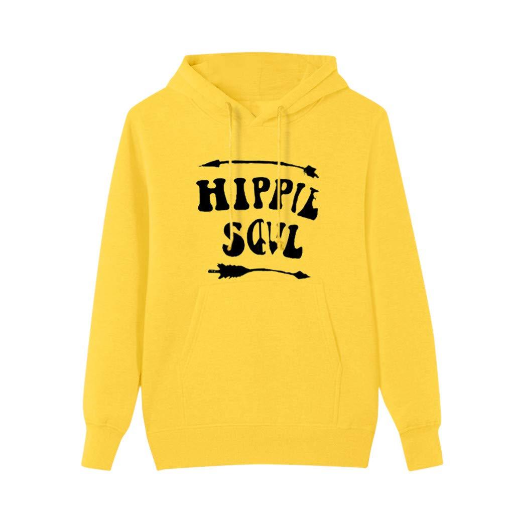 Redacel Womens Pullover Tops, Solid Long Sleeve Hoodie Sweatshirt Hooded Blouse(XXL,Yellow) by Redacel