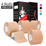 """refun Kinesiology Tape Precut (4 Rolls Pack), Elastic Therapeutic Sports Tape for Knee Shoulder and Elbow, Pain Relief, Waterproof, Latex Free, 2"""" x 16.5 feet Per Roll, 20 Precut 10 Inch Strips"""