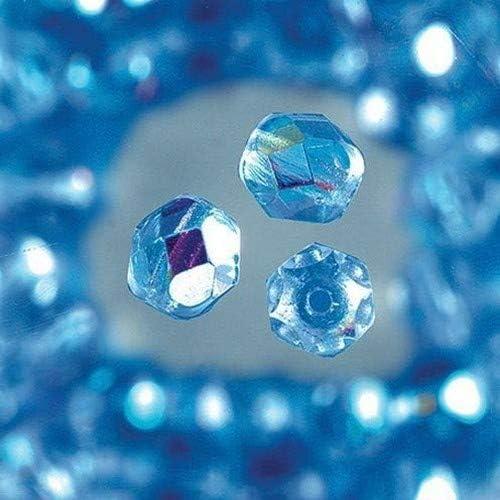 efco Cuentas Redondas de Cristal Iridiscente facetado, Azul intermedio, 4mm, 100Piezas