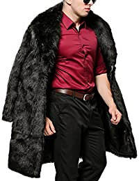 S&S Men's Winter Faux Fur Coat Lapel Long Black Jacket Thicken Warm Overcoat