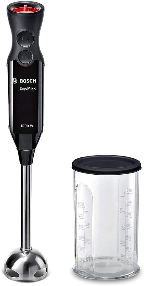 Bosch MS6CB6110 ErgoMixx Mixeur plongeant (puissance puissante, pied mixeur en acier inoxydable, fonction turbo, hachoir et mixeur avec couvercle,