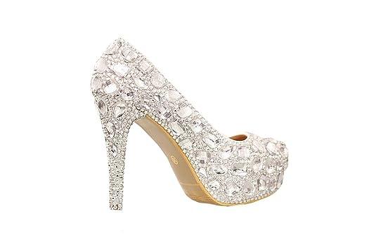 Neue Frau Plattformen Silber Strass Plattformpumpen prom heels high heels Kristallabsatzschuhe Hochzeitsschuhe der Frauen (35) MA3N5HdnO