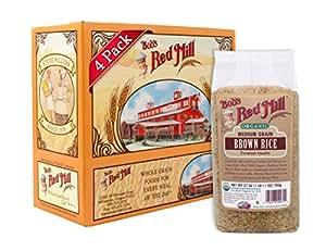 Bob's Red Mill Organic Medium Grain Brown Rice, 27 Ounce (Pack of 4)