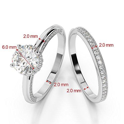 Or blanc 18carats 1CT G-H/VS sertie de diamants ronds Coupe Noir de mariage Bague de fiançailles et ensemble de Agdr-2033