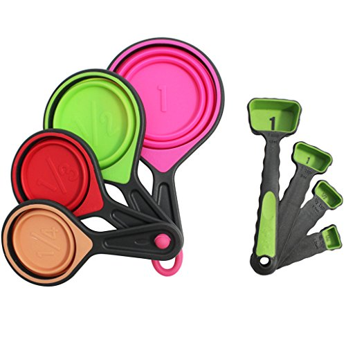 8 Pc Collapsible Measuring Cups & Spoons Set by Kurtzy – Great For Dry & Liquid Ingredients, Diet Measuring Cups Perfect for Weight Watchers & Weight Loss, Bright, Fun & Easy To Read in Metric & US Sizes
